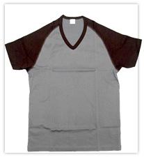 gicipi ジチピ(Italy) 261 COLLO a  V 最高の着心地を ラグランVネックTシャツ(チャコール×ブラウン)