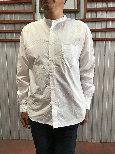 MA-S-351 ルーズフィット バンドカラーシャツ White ホワイト