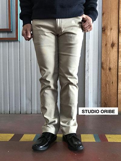 LP01-01 L POCKET PANTS スタジオオリベ Lポケットパンツ ストレート ストレッチパンツ ベージュ