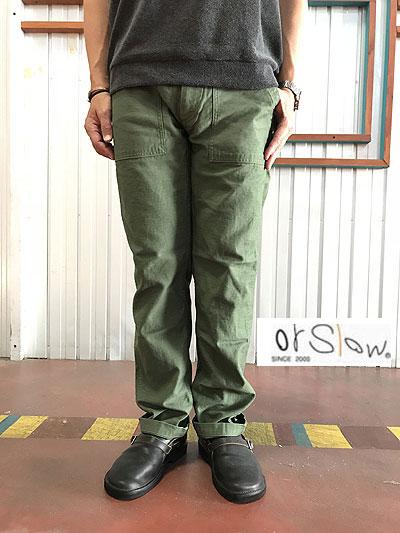 01-5031-32 US ARMY SLIM FIT FATIGUEパンツ オリジナルバックサテン生地 グリーン